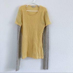 Vince | yellow and gray long sleeve tee